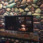 Fireplace in hotel bar