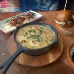 Poached fish, mini beef burger and chicken skewer! Xx