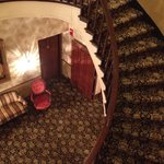 The circular staircase at DeSoto House hotel
