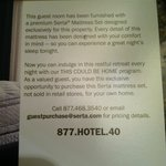 Card featuring Serta mattress promotion in our room