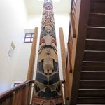 Totem Pole at back stairwell near canal