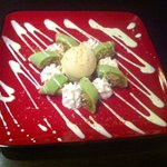 Pandan Pancake with young cocunut served with ice cream
