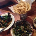 Thai style Brussels sprouts and Moules frites - $10 for both during happy hour - 4-6:30pm Tuesda