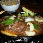 Sizzling beef and scallops.  YUMMO!