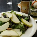 walnut, pear and cranberry salad and pear cider