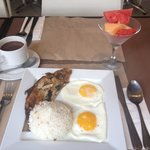 Bangus (milkfish) breakfast with hot chocolate drink