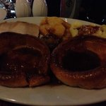Sunday Roast with Yorkshire pudding, good portions, too delicious to waste, wiped the plate clea