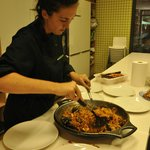 Serving up the paella!