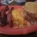 This is the 2 egg breakfast with hashbrowns, bacon, and sourdough toast.