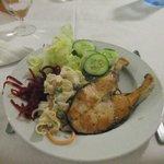 Buffet meal - salmon & salad