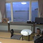 Bedroom area with view of harbor/ocean