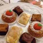 Apple cake,chocolate praline,mini budnt cake,caramel chocolate sponge..