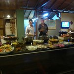 A sample buffet of the abundant diverse delicious food and staff