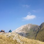Taking a break before heading to the top of Stob Ban.