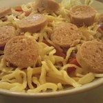Wurst käse salat. Slices of fleischwurst with emmentaler n' cheese with tomato, onion, cucumber,
