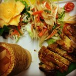Grilled Chicken with Thai Papaya Salad with sticky rice