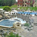 View of the outdoor pool and spas