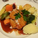 One of the main dishes, roast turkey, both dishes were raved about by our guests