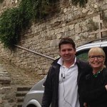Artan and me in Montefioralle, Italy. My husband Bill took the picture.
