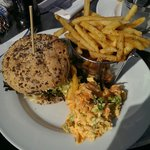 Very delicious steak mince burger, seasoned fries and homemade slaw.. recommended!!