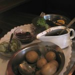 Danish meatballs with gravy,  roast potatoes, beets and pickles