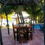 beach cabana outside dining