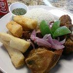 Masitas de puerco (Fried pork chunks) Fried yuca and rice!
