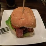 Blue cheese and bacon beef burger