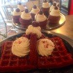 Red Velvet Waffles, Cupcakes and we even have Red Velvet Cupcake Milkshakes!