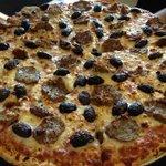 14-inch meatball, feta and kalamata olive pizza.