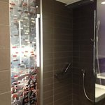 Huge shower stall with rain shower head