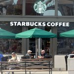 Starbucks by the Ferry Building, the Embarcadero and Washington, San Francisco, Ca