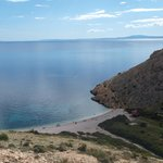 the secret beach of Stara Baska looking from the road above.