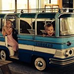 they loved playing in the restaurant's little bus!