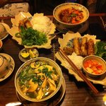 Spring rolls, Chicken Pho and Pork Pho