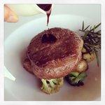 Chef Dean's tenderloin with red wine vinaigrette and sautéed organic vegetables
