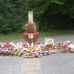 The execution post - and commemorative wreathes