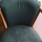Nasty stains on the chair seat.