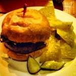 Hipster Burger w/tortilla chips and pickle wedges