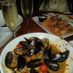 Beer Mussels and Spicy Calamari, Bubbly!