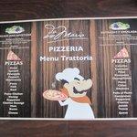 Pizza Menu in Pizzaria