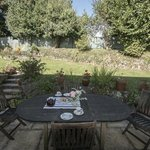 guests are welcomed with tea and cake, some choose the garden!
