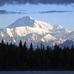 Spectacular view of Denali across the lake at sunrise