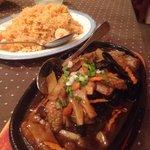 Canard aux champignons et riz rouge