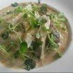 Bar rôti sur risotto aux cèpes