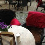 There are blankets in addition to ouside fire/warmers to help you keep warm on chilly evenings