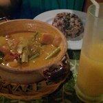 Ужин. Суп с рисом и сок.