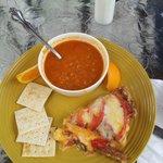 Tomato-lentil soup and zucchini-squash quiche