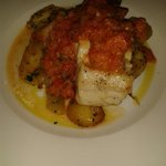 Delicious hake with tomato salsa and sautéed potatoes.  Really good sized portions!