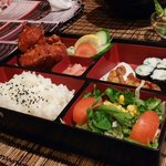 Fried Chicken Bento! Big proportion with varieties of others food